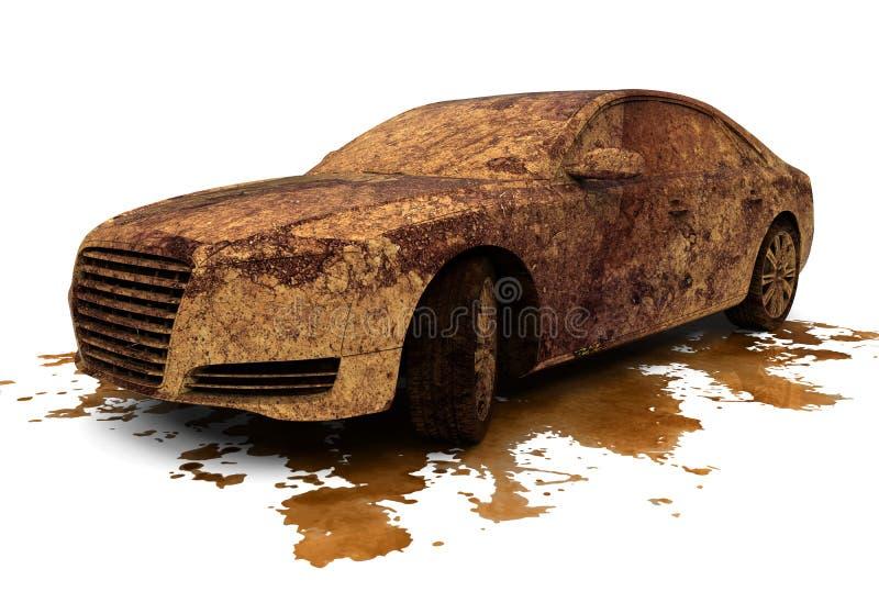 Dirty car over a splash stock illustration