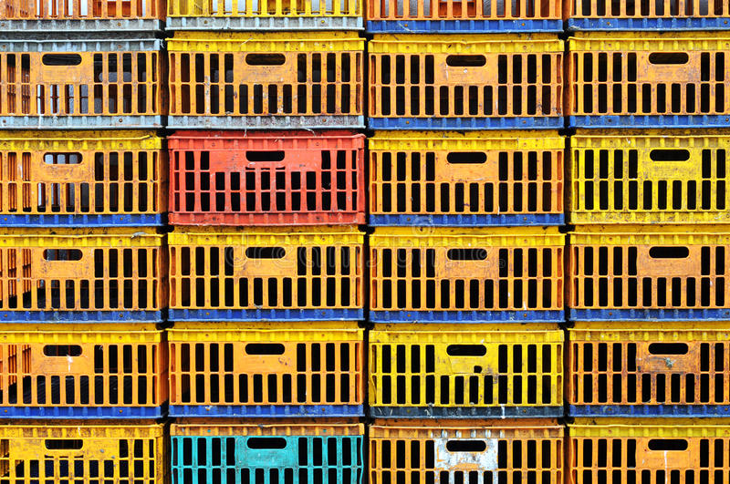 Dirty chicken box. In organized stack. Create colorful pattern royalty free stock photo
