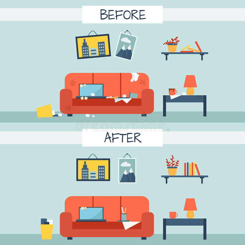 Dirty and clean room stock vector illustration of for How to deodorize a room