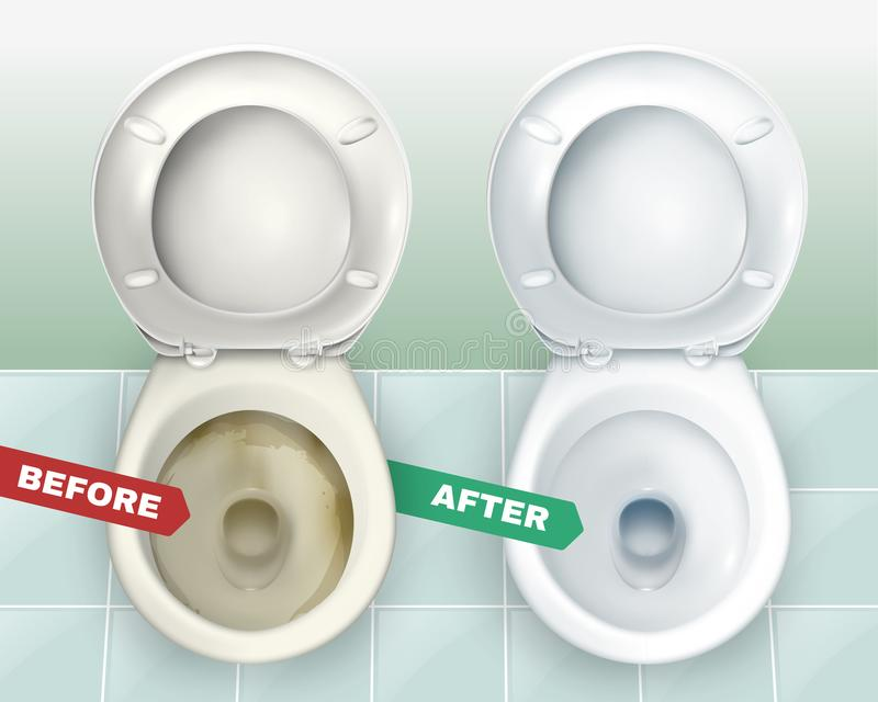 Dirty And Clean Toilets. Realistic dirty and clean toilets composition representing two lavatory bowls before and after applying toilet bowl cleaner vector royalty free illustration
