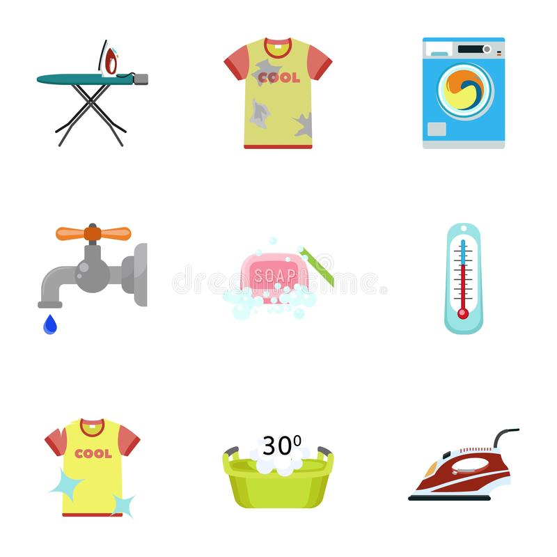 Dirty clothes icon set, flat style. Dirty clothes icon set. Flat set of 9 dirty clothes vector icons for web design isolated on white background vector illustration