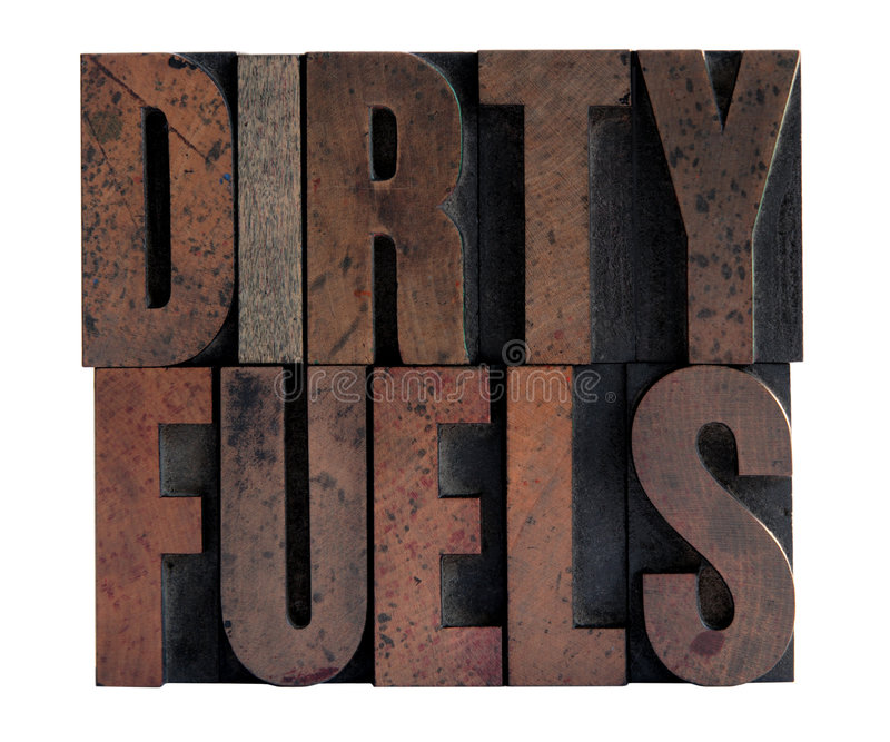 Download Dirty Fuels In Letterpress Wood Type Stock Photo - Image: 4433104