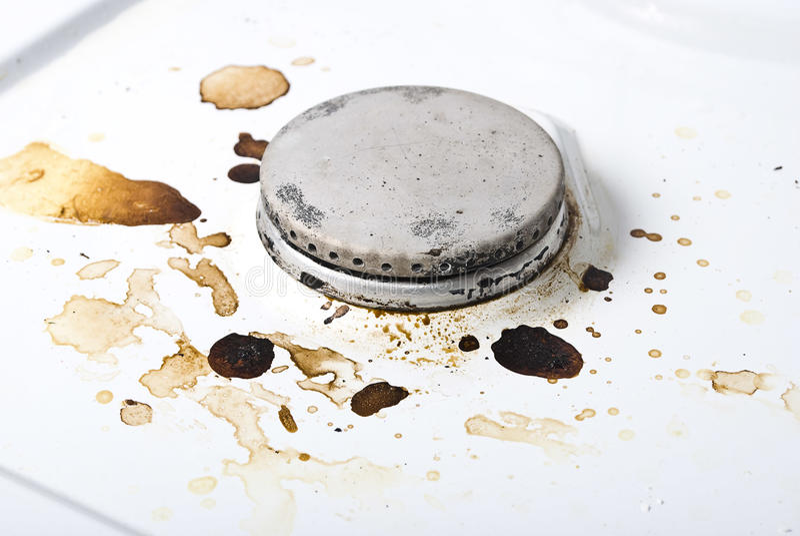 Dirty gas stove stock image