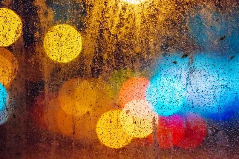 Dirty glass on the background of bokeh stock photo