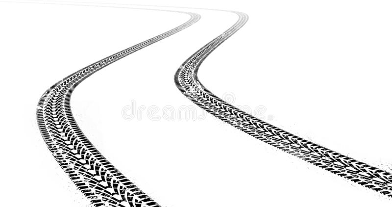 Dirty grunge tire tracks on white background vector illustration