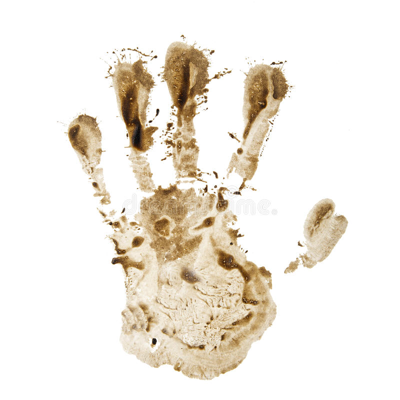 Dirty hand print stock images