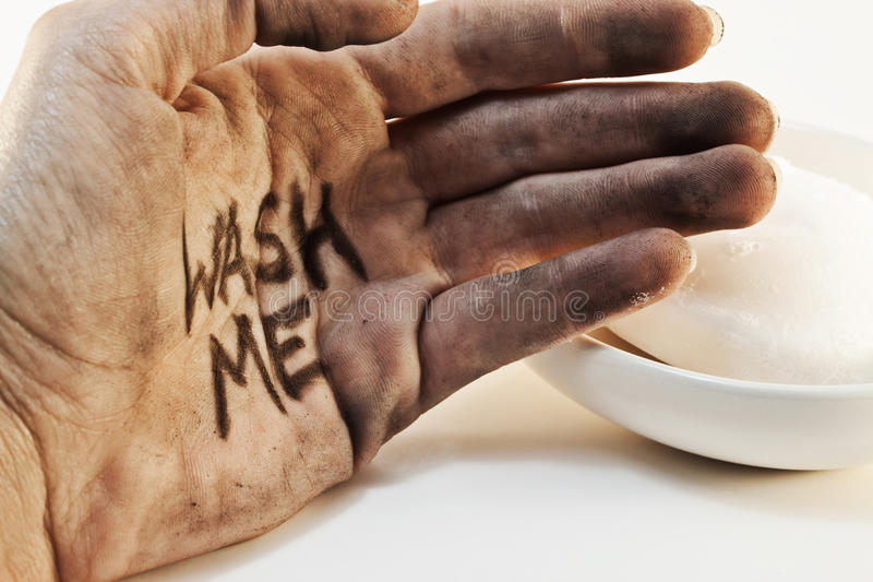 Dirty hand with soap royalty free stock photos