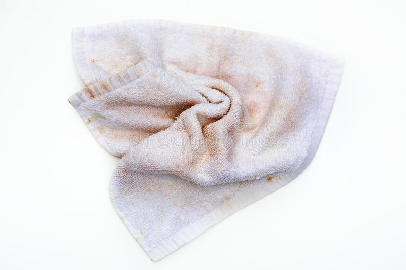 Dirty hand towel. Over white royalty free stock image