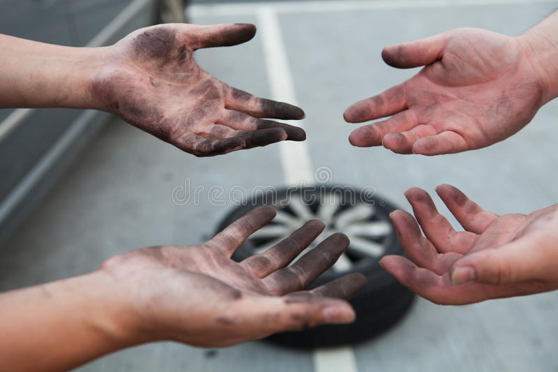 Dirty Hands royalty free stock photo