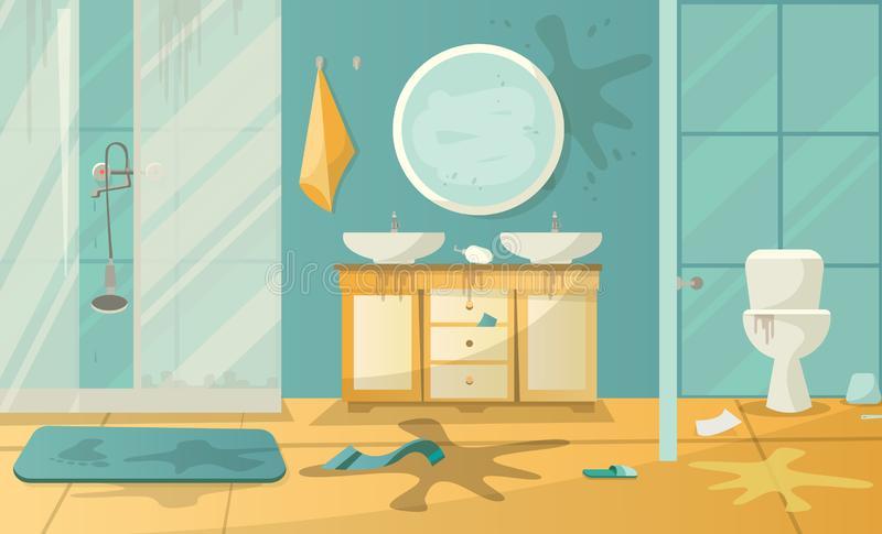 Dirty interior of bathroom with toilet sink shower cabbin and accessories in a modern style. Flat cartoon  illustration royalty free illustration