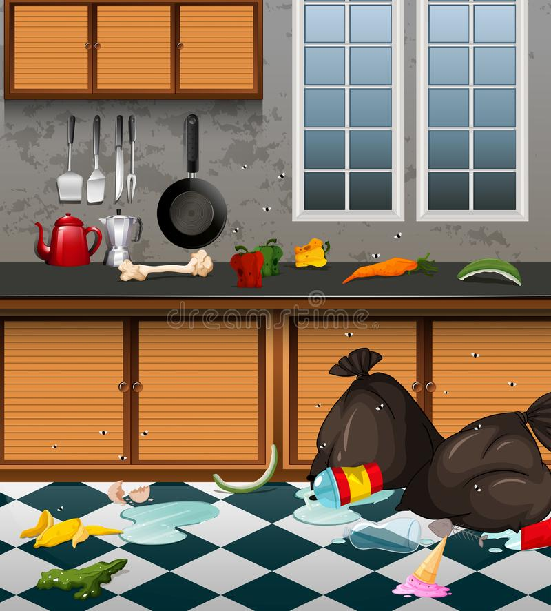 A Dirty Kitchen Full or Waste royalty free illustration