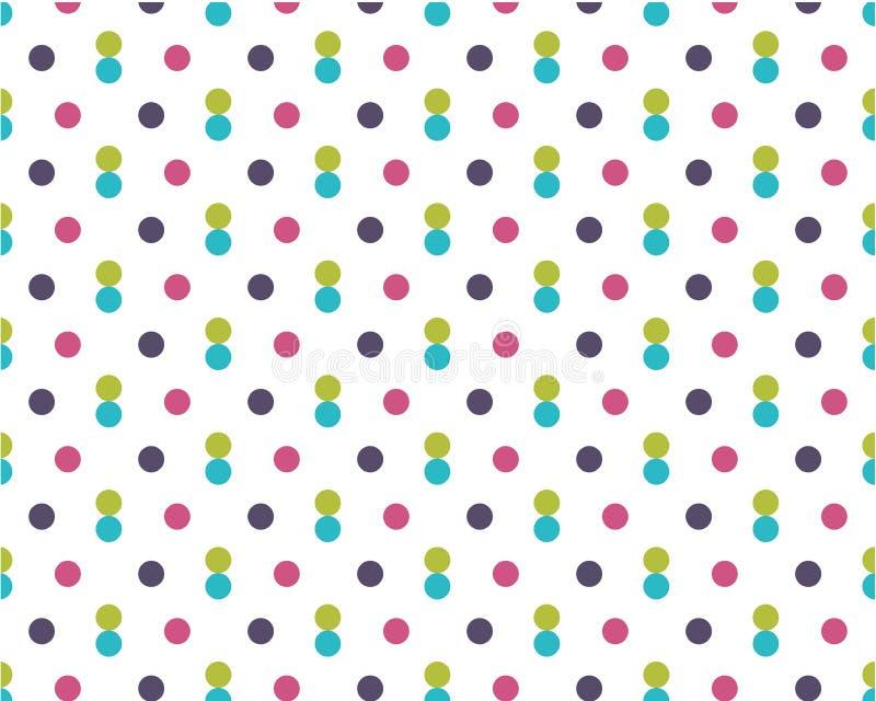 Dirty kulöra prickar på vit bakgrund Rund form för purpurfärgad, blå gul festlig modell stock illustrationer