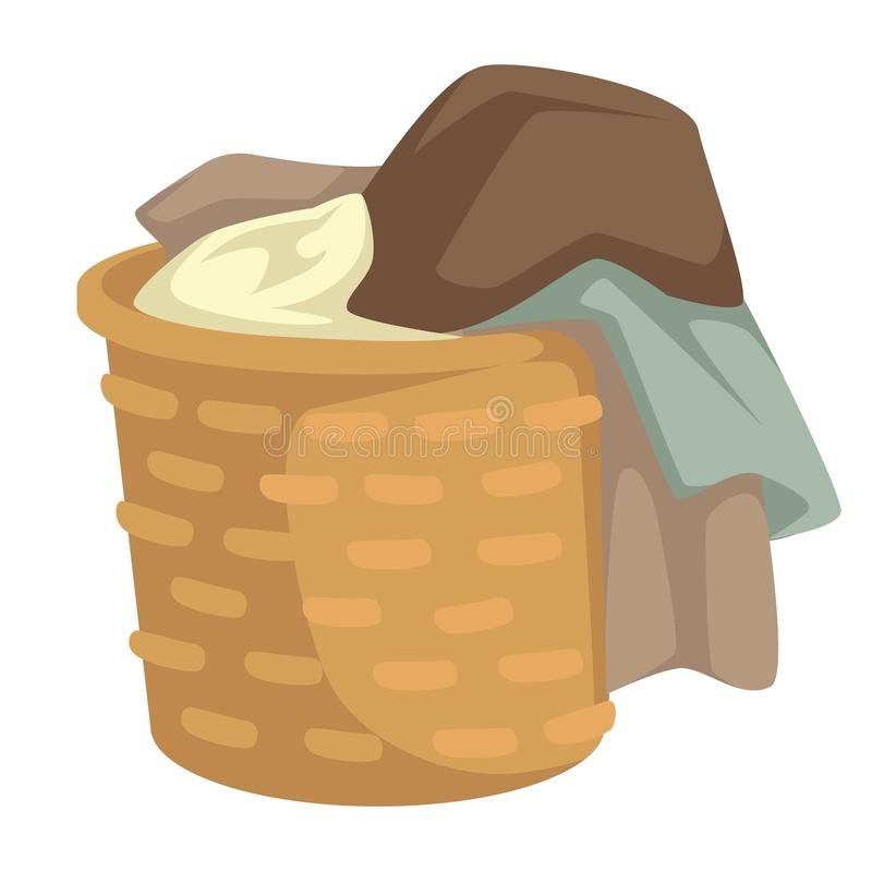 Clothes and linen laundry in wicker basket isolated object. Dirty laundry or clothes vector isolated object towels and clothing stockings and linen in wicker royalty free illustration