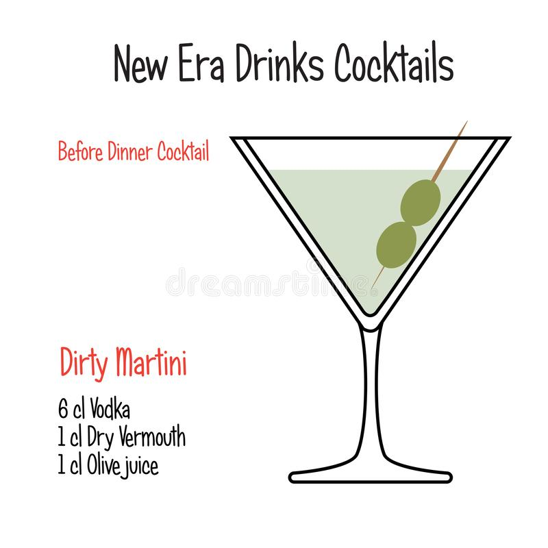 Dirty martini alcoholic cocktail vector illustration recipe isolated. Hand drawn alcoholic drinks, Dirty martini alcoholic cocktail vector illustration recipe royalty free illustration
