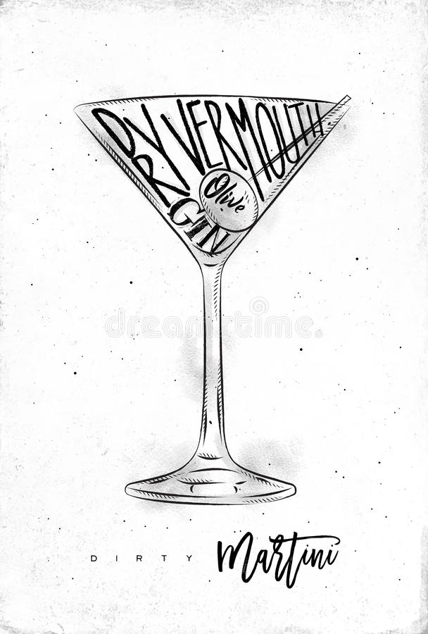 Dirty martini cocktail. Lettering dry vermouth, gin, olive in vintage graphic style drawing on dirty paper background stock illustration