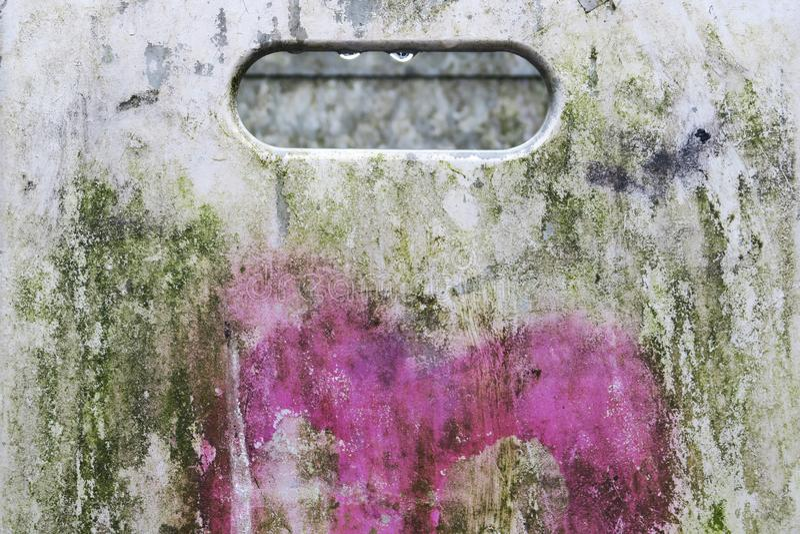 Dirty metal trash can closeup stock images