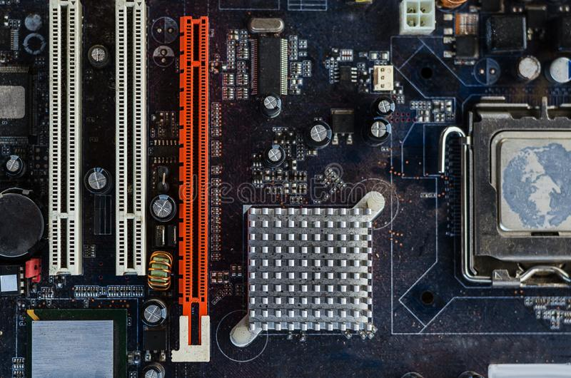 Dirty motherboard for the whole frame royalty free stock image