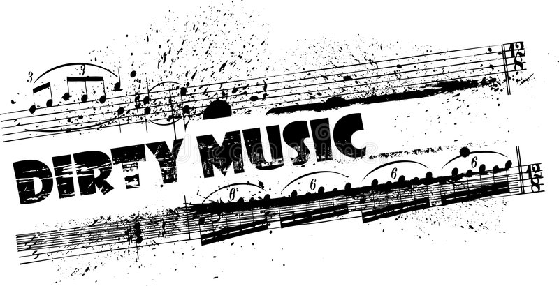 Dirty music frame. Grunge frame with ink splashes and musical notes stock illustration
