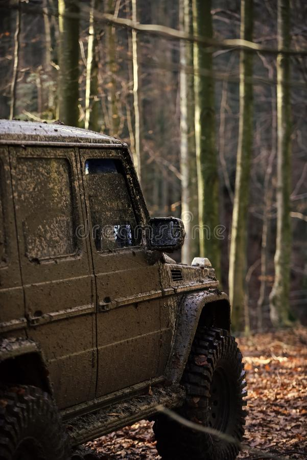 Dirty offroad car with fall forest on background. On sunny autumn day, defocused. SUV covered with mud on path covered with leaves. Tires, doors and windows stock image