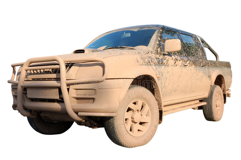 Dirty offroad car isolated stock images