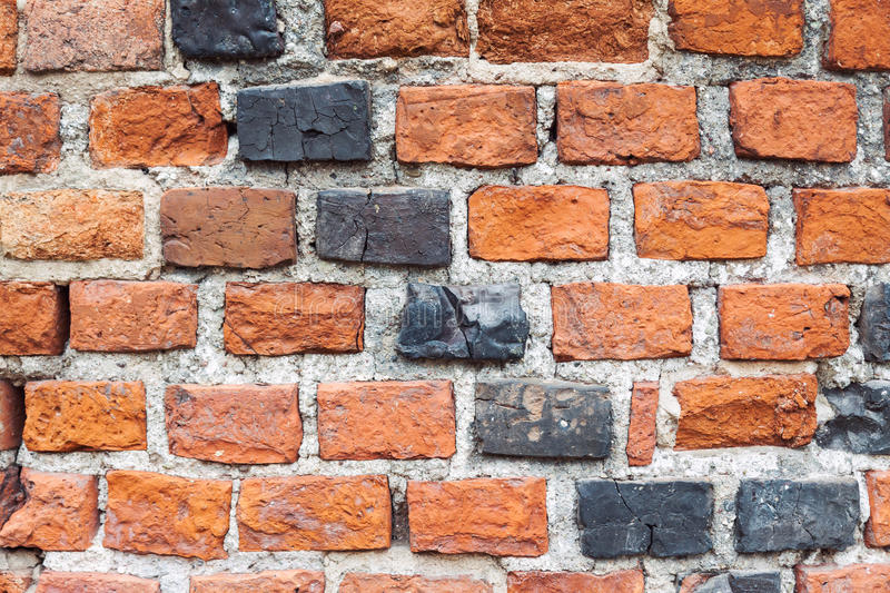 Dirty old brick wall background stock image