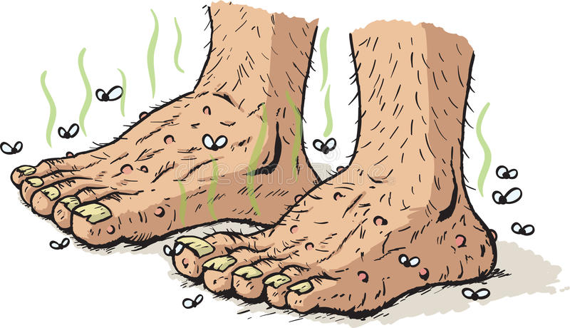Dirty old feet. Drawing of really dirty, old feet vector illustration