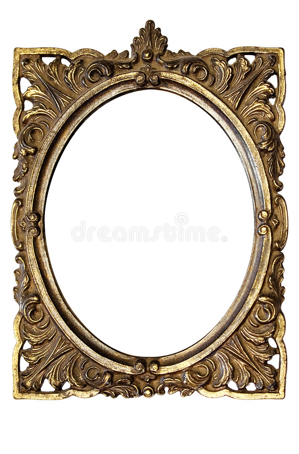Dirty Old Ornamented Oval Picture Frame w/ Path royalty free stock photos