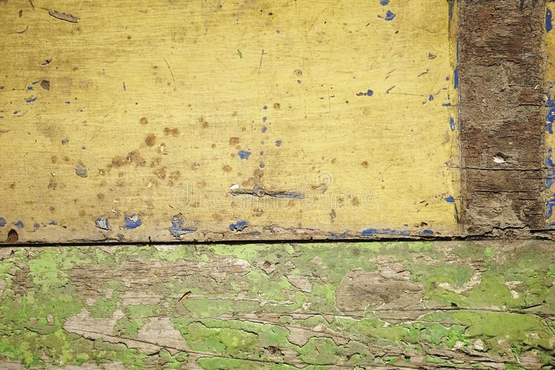 Dirty old yellow wood background. texture of wood use as natural background stock photography