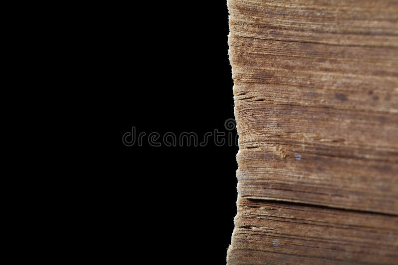 Dirty pages of old worn book stock photo