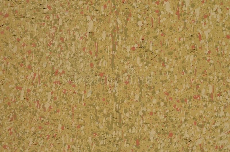 Dirty painted plywood with many small paint spots. Dirty painted chipboard, full of small multicolored paint spots. Background for design stock photo