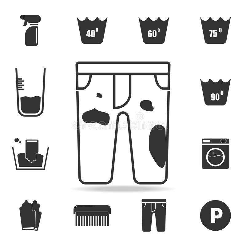 Dirty pants icon. Detailed set of laundry icons. Premium quality graphic design. One of the collection icons for websites, web des. Ign, mobile app on white stock illustration
