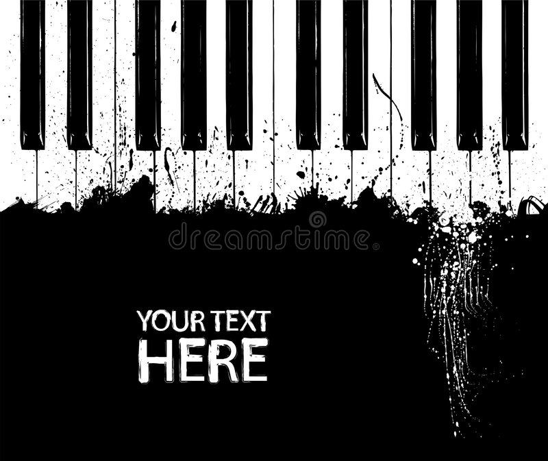 Dirty piano keys. Grunge black and white piano keys with copy space vector illustration