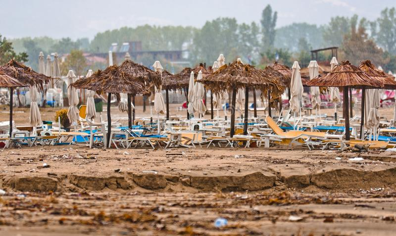 A Dirty Polluted Beach Stock Photo