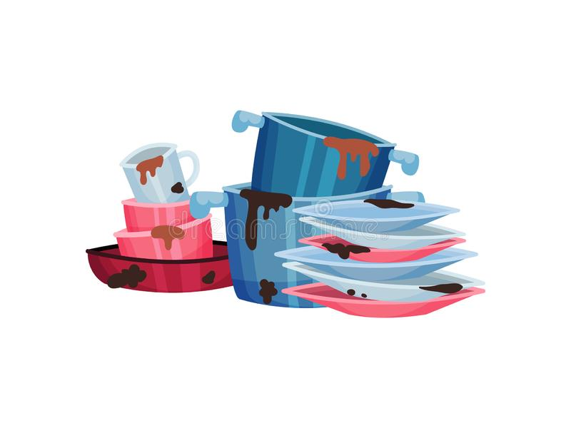 Dirty pots, mugs and plates. Vector illustration on white background. vector illustration
