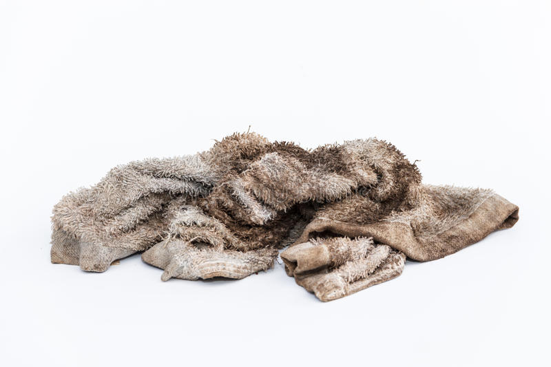 Dirty rag. On a white background stock image