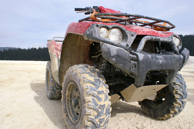 Download Dirty red ATV stock photo. Image of quick, rally, extreme - 1413254