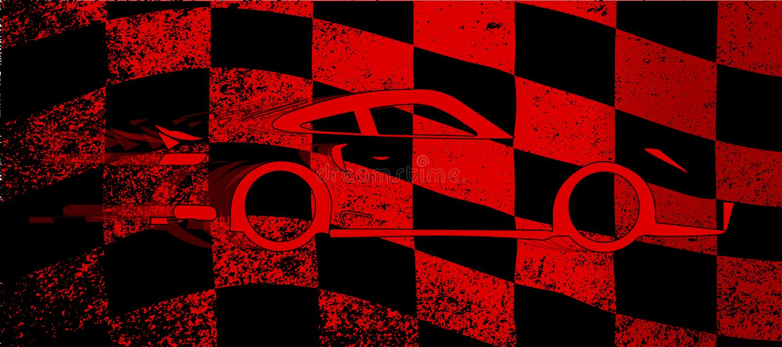 Fast Car Chequered Flag stock illustration
