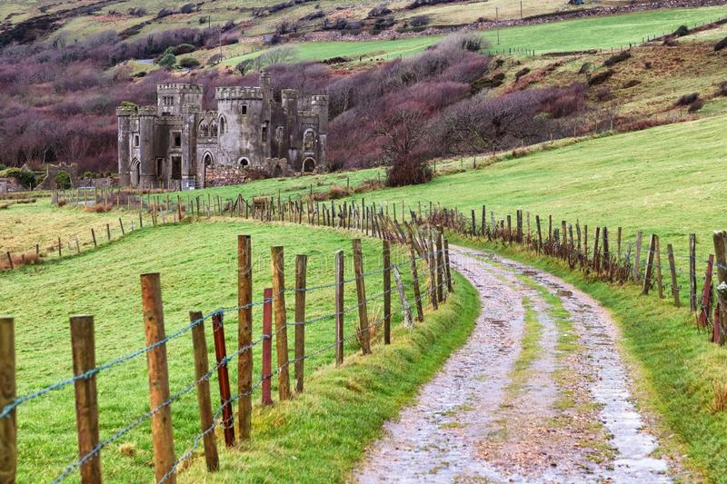 Dirty road to Clifden Castle. Clifden, Galway, Ireland royalty free stock images