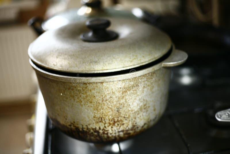 Dirty saucepan on the stove stock photography