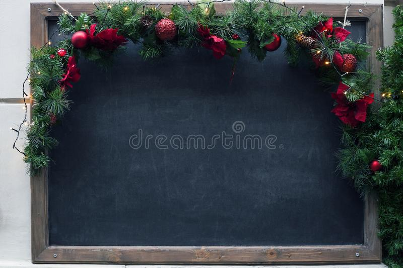 Dirty school blackboard. Christmas empty black mock-up royalty free stock photos