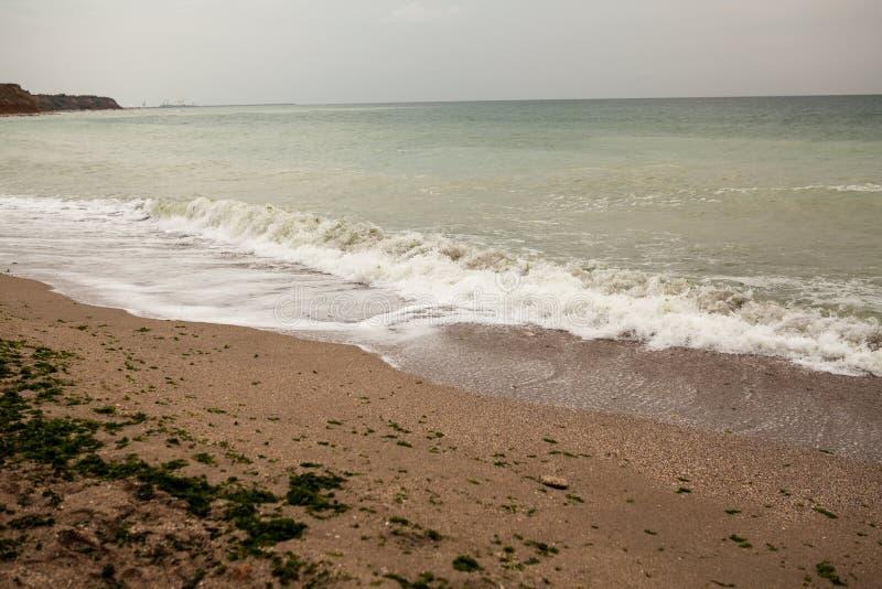 Dirty sea water stock image