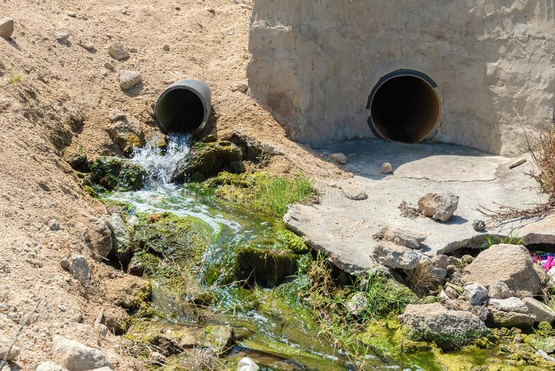 Dirty sewage from the pipe, environmental pollution stock photos