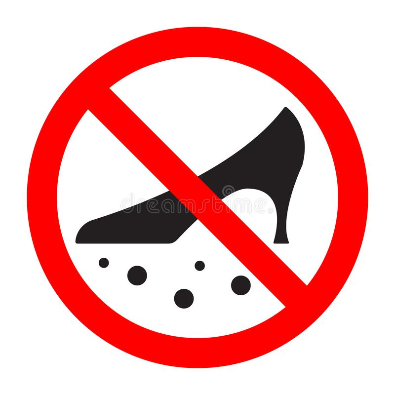 Dirty shoes are forbidden prohibition sign. Vector illustration stock illustration