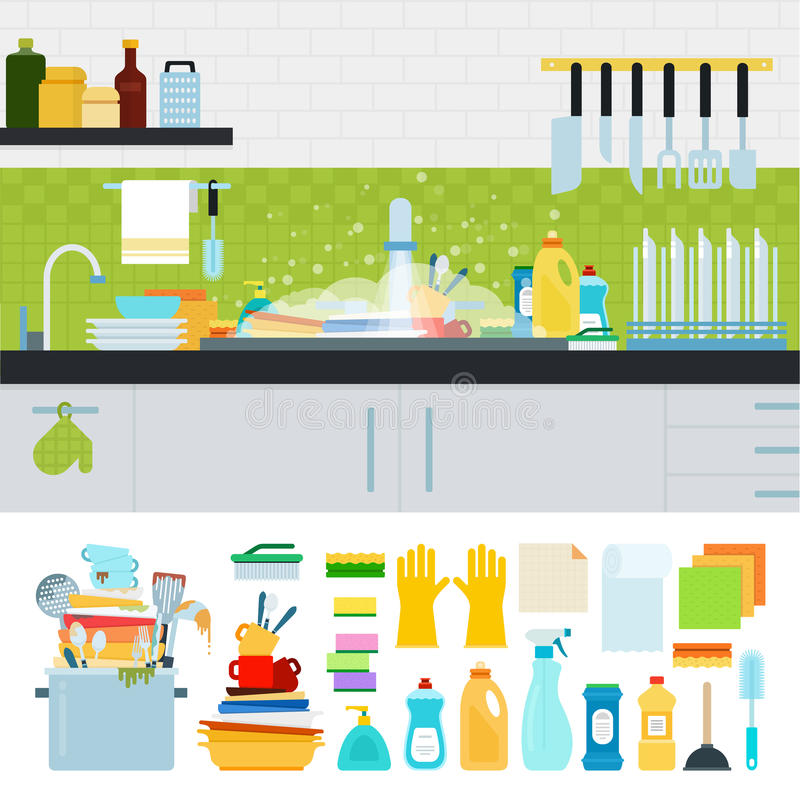 Dirty sink with kitchenware. Unwashed dishes vector flat illustrations. Dirty sink with kitchenware, utensils, dishes, dish detergent. Differrent cooking royalty free illustration