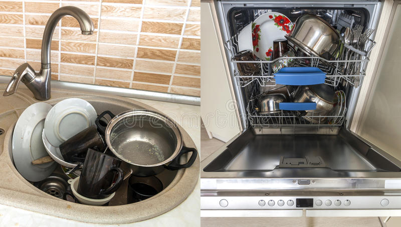 Dirty sink with kitchenware, utensil, dishes. Open dishwasher wi. Dirty sink with kitchenware, utensil, dishes. Open dishwasher royalty free stock image