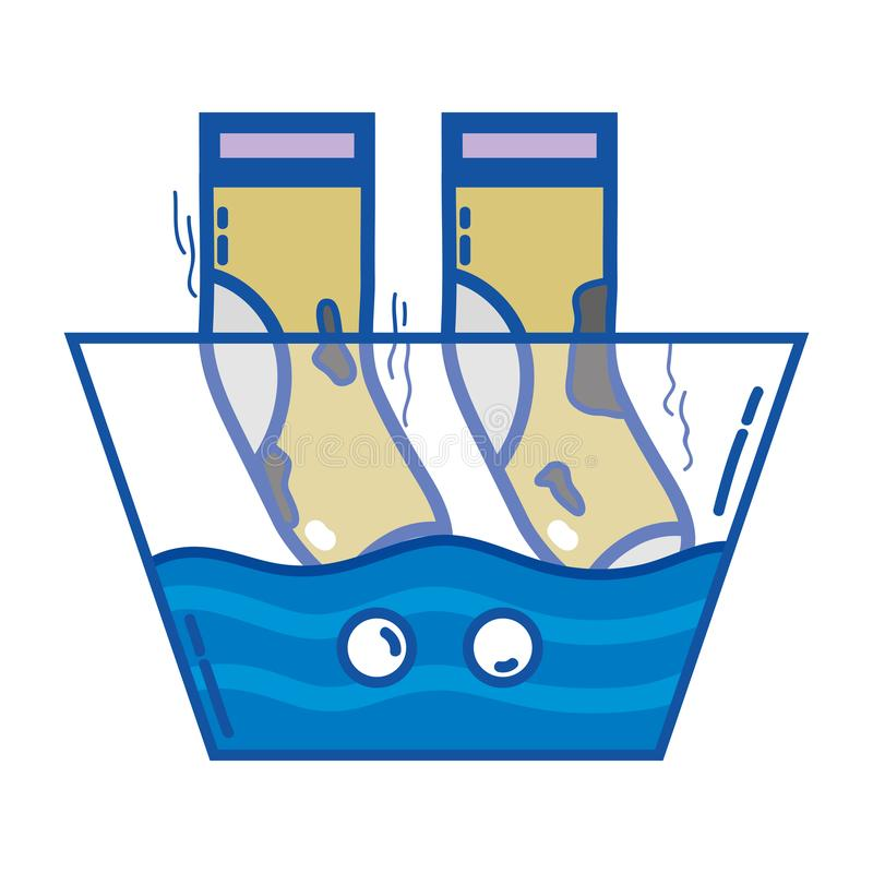 dirty socks soaking in pail with water stock vector illustration