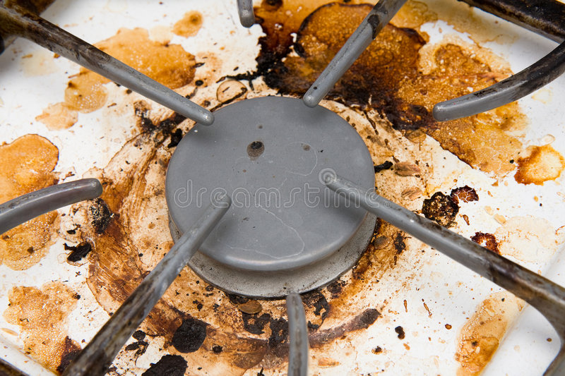 Dirty stovetop royalty free stock images