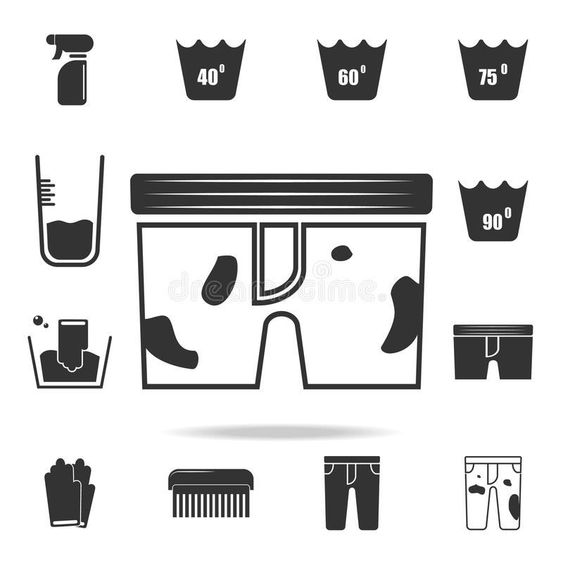 Dirty underwear icon. Detailed set of laundry icons. Premium quality graphic design. One of the collection icons for websites, web. Design, mobile app on white royalty free illustration