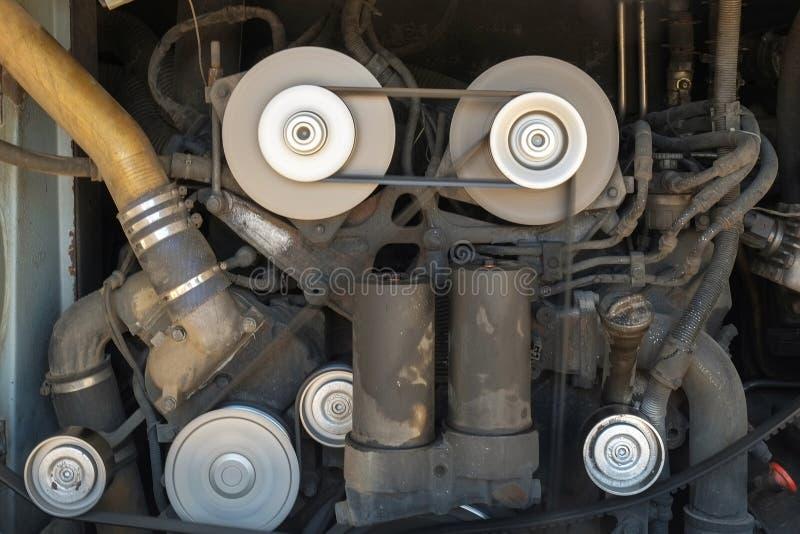 Vehicle engine. A dirty vehicle engine technology stock image