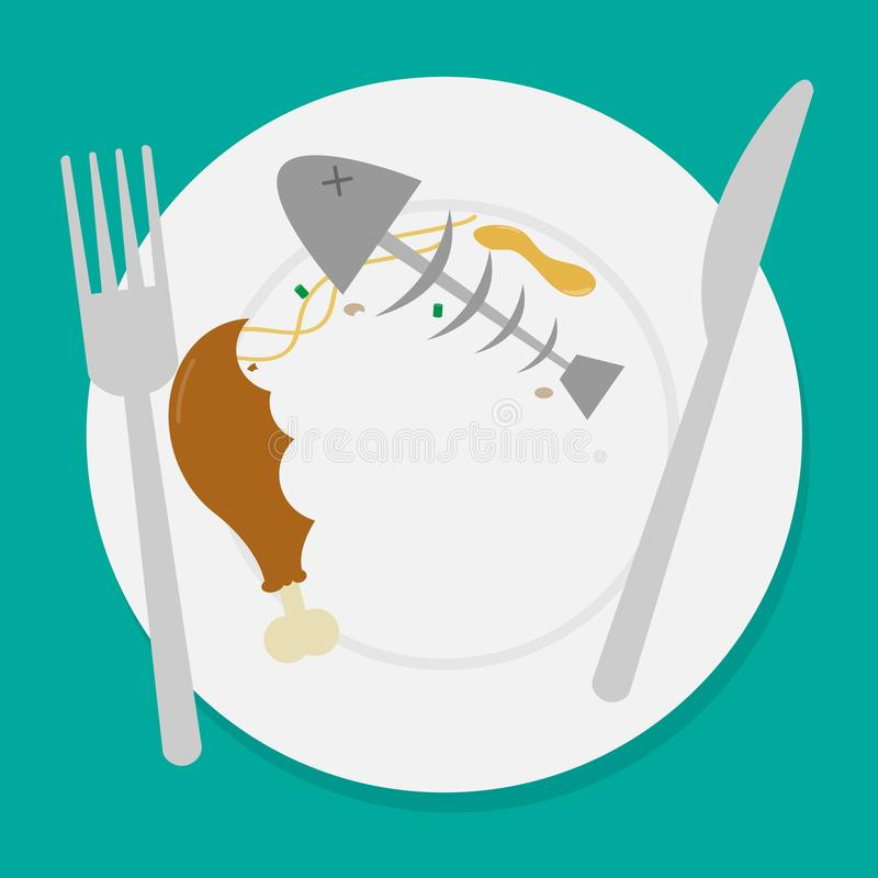 Dirty waste food on plate with fork and spoon. Illustration vector illustration
